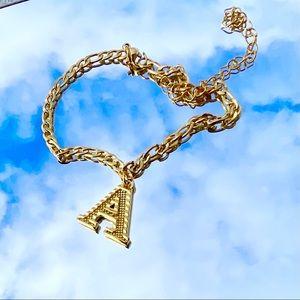 Gold letter anklet